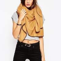 ASOS | ASOS Plain Oversized Square Scarf With Blanket Stitch at ASOS