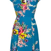 Ashley Dress in Turquoise Floral | Blame Betty
