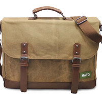 Mato Laptop Vintage Messenger Bag Crossbody Shoulder Satchel Water Resistance Waxed Canvas Vegan Leather Trim Brown