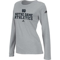 adidas Notre Dame Fighting Irish Women's Football Practice Long Sleeve T-Shirt - Gray