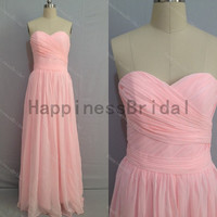 Pink sweetheart chiffon prom dress with pleated,prom dress,pink chiffon prom dress,long evening dress,real formal dress .hot sales dress