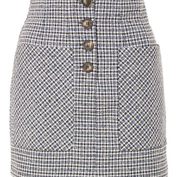 Textured Checked Button Skirt - Skirts - Clothing