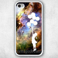 iPhone 4 Case - Banksy Balloon Girl in Space iphone 4 case, iPhone 4s Case, iPhone 4 Hard Case, iPhone Case