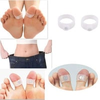 [flash 2 PCS Slimming Health Silicone Magnetic Foot Massager Relax Toe Ring for Weight Loss = 6044725831