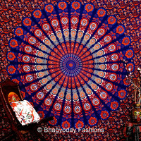 Blue Hippie Hippy Wall Hanging , Indian Mandala Tapestry Throw Bedspread , Dorm Tapestry , Couch Sofa Cover ,Gypsy Party decoration
