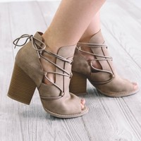 SZ 5.5 Spring Back Taupe Open Peep Toe Heels