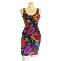 Bodycon Dress 90s Dress 90s Sunflower Dress 90s Party Dress Mini Dress Stretch Dress Women Floral Dress Summer Dress Women Sexy Dress Tight