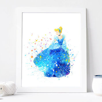Cinderella, Disney Princess - Watercolor, Art Print, Home Wall decor, Watercolor Print, Disenyland Poster