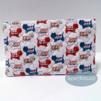 Westie Terriers in Sweaters Quilted Fabric Checkbook Cover, Red Blue