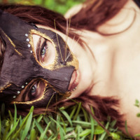 Black & Gold Cat Masquerade Mask - Handmade with new and  Recycled Materials
