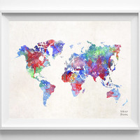 World Map Print, Watercolor, Poster, Map, Painting, Art, World Map, Bedroom, Nursery, Baby Room, Children, Wall Decor, Silhouette [NO 474]