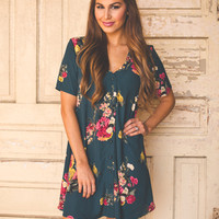 Emerald Floral Tunic Dress
