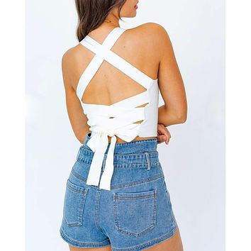 Love Story Lace Up Crop Top in More Colors