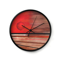 Decorative Wall Clock with abstract art of the sun in orange and browns with stripes home decor or office decor