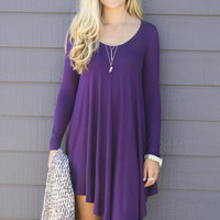 Follow Your Heart Plum V-Neck Long Sleeve Dress