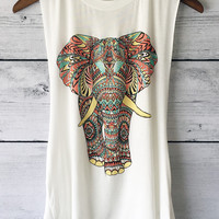 Elephant Graphic Print Muscle T-Shirt