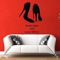 Wall Decals Quote Girl Woman Shoes Keep Calm and Wear Heels Fashion Vinyl Decal Sticker Living Room Wall Decor Home Interior Design Art Mural