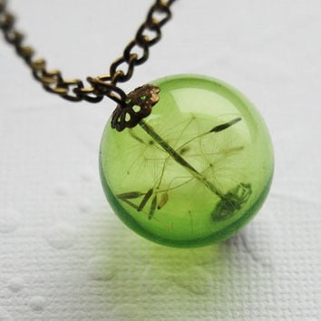 Green Dandelion Necklace Real Dandelion Seeds Make A Wish Large Bead Necklace Botanical  Glass Orb Globe Beadwork