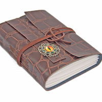 Alligator Faux Leather Journal with Eye Cameo and Bookmark
