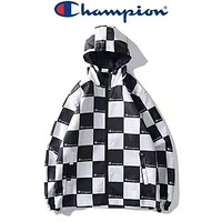 Champion Newest Popular Women Men Tartan Pattern Hoodie Cardigan Jacket Coat Windbreaker Black