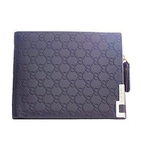 Mens Blue Wallet with Zipper Compartment