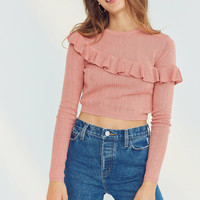 Kimchi Blue Ruffle Cropped Sweater | Urban Outfitters