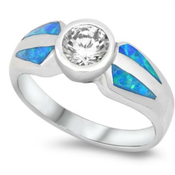 .925 Sterling Silver Diamond Blue Fire Opal Ladies Ring Size 5-9 Round Cut Wide Band Solitaire