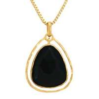 Triangle Onyx Pendant - Gold