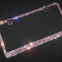 Super Bling 4 Rows Purple Real Crystal Rhinestone-Metal Chrome License Plate Frame
