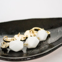 Faceted White Agate Nuggets Gemstone Bracelet - Gold Plated Chain