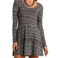 Tribal Print Sweater Knit Skater Dress - Black Combo