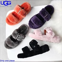 U UGG fashionable sheep fur integrated slippers are hot sellers of casual ladies' velvet sandals