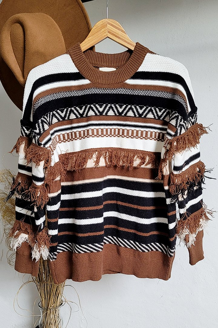 Image of Better Than All The Rest Aztec Fringe Sweater