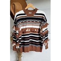 Better Than All The Rest Aztec Fringe Sweater
