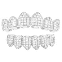 Men's White Iced Out 6 Top &Bottom Grillz Set