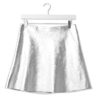 Leather Circle Skirt by Boutique - Silver