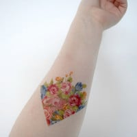 Temporary Tattoo Vintage Floral - Arrow, Triangle, Flower, Spring, Pink