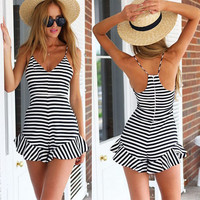 Striped Spaghetti Straps Ruffled Bottom Rompers