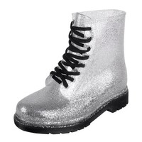 ZLYC Women's Silver Sequin Round Toe Lace Up Jelly Rain Boots
