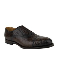 Gucci Oxford Brown Crocodile Leather Lace up Shoes 243813 2039