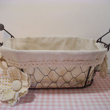 Wire Bowl Filler Basket, Fabric Lined, Bread Basket, Country Decor, Farmhouse, Wedding Supplies, Party Supplies, Home Decor, Display Basket