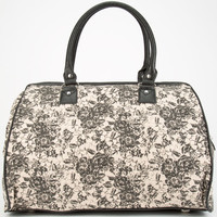 Two Tone Floral Print Duffle Bag Black One Size For Women 24812210001