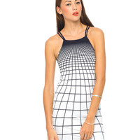 Motel Zeah Bodycon Dress in Tron Black White