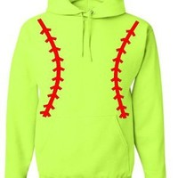 Softball Pullover Hooded Sweatshirt (Unisex Adult Hoodie) - Neon Safety Green / Red (Medium (Unisex Adult Sizing))