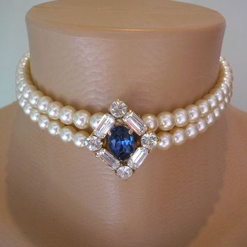 Sapphire Choker, Pearl and Sapphire Necklace, Bridal Jewelry, Montana Blue, Navy Blue Jewelry, Mother of the Bride, Great Gatsby, Art Deco