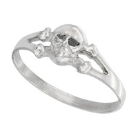 Sterling Silver Tiny Skull & Crossbone Ring 1/4 inch wide, sizes 6 - 9
