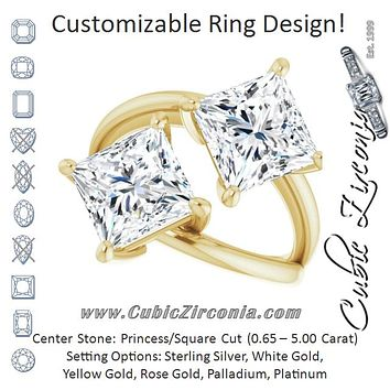 Cubic Zirconia Engagement Ring- The Melaine (Customizable Two Stone Double Princess/Square Cut Design with Split Bypass Band)