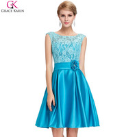 Elegant Mother Of The Bride Dresses Robe De Soiree Grace Karin Sleeveless Satin Lace Knee Length Formal Dress Short Party Gowns