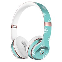 Micro White Ship Wheels Over Teal Full-Body Skin Kit for the Beats by Dre Solo 3 Wireless Headphones