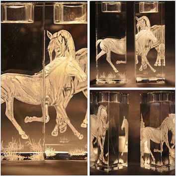 Hand engraved Horse Candle Holders 3D (see video)